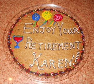 Gigantic chocolate chip cookie decorated for retirement event