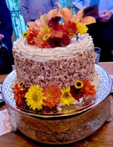 Flower adorned Torta Italiana di Crema