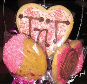 brightly decorated heart and round cookiles