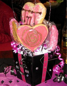 Cookies in a nice box with ribbons and streamers