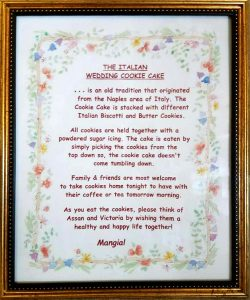 How to eat cookie cake - framed instructions for each event.