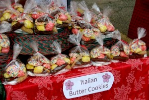 Table of cookie bags with bright red table cloth