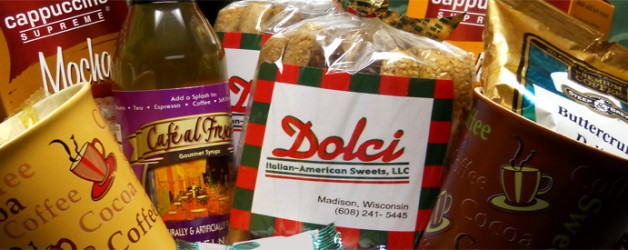 Dolci gift baskets come with biscotti, chocolate, coffee and fun seasonal surprises