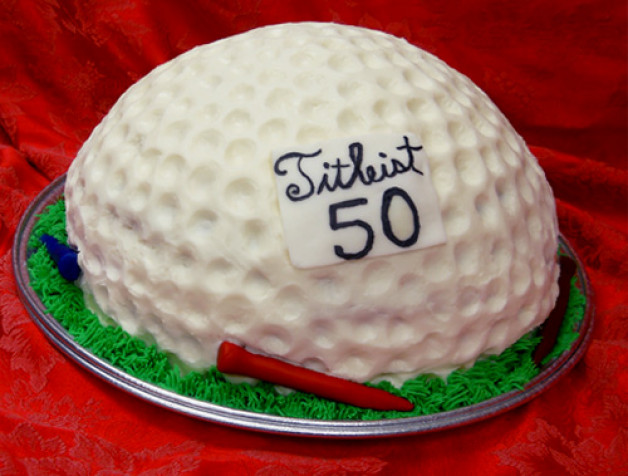 Golf Ball cake with a tee and 50 on it it (Birthday)