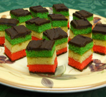 Italian Flag Layer Cookies –  red white green topped with chocolate