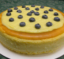 Lemon cheesecake dotted with blueberries