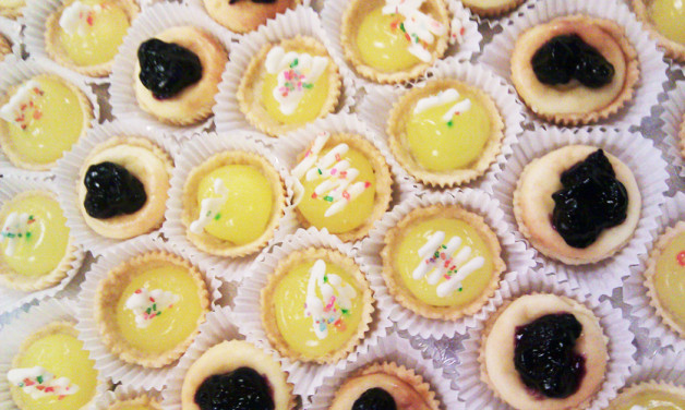 A big tray of little tarts from Dolci bakery in Madison