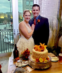 Wedding couple with Torta Italiana di Crema